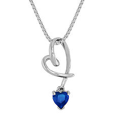 Heart-Shaped Sapphire Heart Pendant (18 in.)