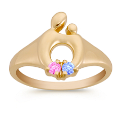 Round Multi-Colored Sapphire Mother & Child® Ring by Janel Russell
