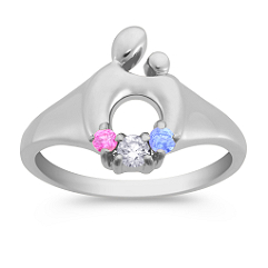 Round Multi-Colored Sapphire and Diamond Mother & Child® Ring by Janel Russell