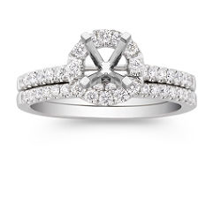 Round Halo Diamond Wedding Set with Pave Setting