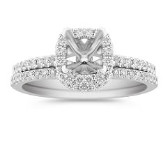 Halo Diamond Wedding Set, Contoured Band, with Pave Setting