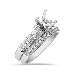 Round Diamond Wedding Set in Platinum