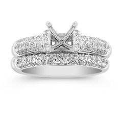 Triple Row Round Diamond Wedding Set in Platinum