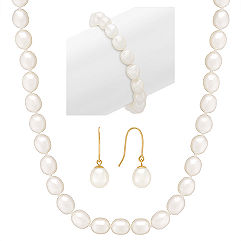8mm Cultured Freshwater Pearl Strand, Bracelet, and Earring Three-Piece Set (18 in.)