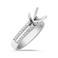 Beam Bridge Split Shank Round Diamond Engagement Ring