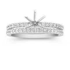 Diamond Wedding Set with Pave Setting