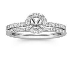 Halo Pave-set Diamond Wedding Set