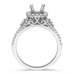Cushion Halo Engagement Ring with Pavé Set Princess Cut and Round Diamonds