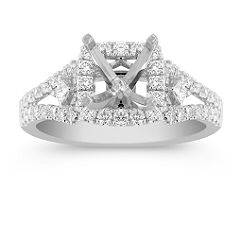 Cushion Halo Engagement Ring with Pave Set Princess Cut and Round Diamonds