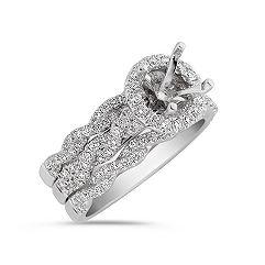 Halo Diamond Twist Wedding Set with Pavé Setting