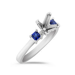 Three-Stone Princess Cut Sapphire Engagement Ring