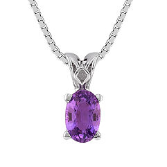 Oval Lavender Sapphire Pendant (18 in.)
