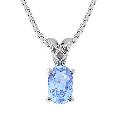 Oval Ice Blue Sapphire Pendant (18 in.)