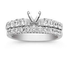 Cathedral Diamond Wedding Set with Pave Setting