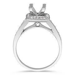 Halo Platinum Diamond Engagement Ring with Pavé Setting