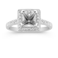 Halo Platinum Diamond Engagement Ring with Pave Setting