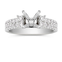 Princess Cut and Diamond Engagement Ring