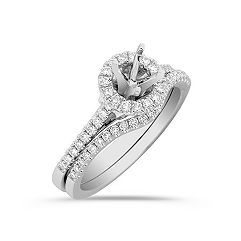 Round Halo Diamond Platinum Wedding Set with Pavé Setting