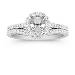 Round Halo Diamond Platinum Wedding Set with Pave Setting