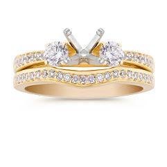Three-Stone 18k Gold Diamond Wedding Set