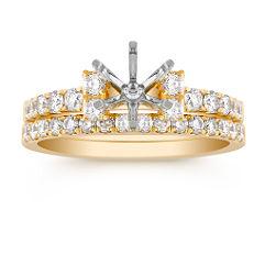 Round Diamond Wedding Set in 18k Gold