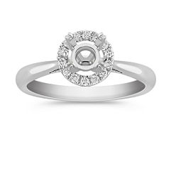 Classic Halo Diamond Engagement Ring in Pave Setting