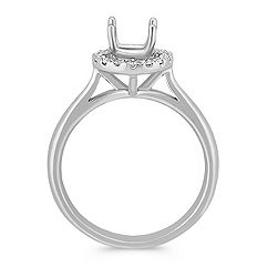 Halo Diamond Engagement Ring on Polished Band - 1/5 ct. t.w.