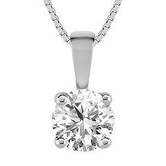 "Round Diamond Solitaire Pendant (18"")"