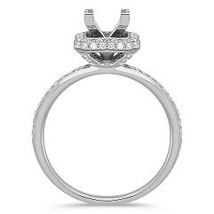 Halo Diamond Thin Band Engagement Ring with Pavé-Setting