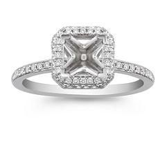 Halo Diamond Thin Band Engagement Ring with Pave-Setting