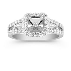 Halo Baguette and Round Diamond Engagement Ring with Pave Setting