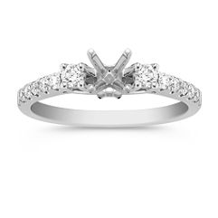 Cathedral Three-Stone Round Diamond Engagement Ring