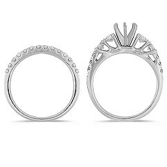 Ascending Size Round Diamond Wedding Set