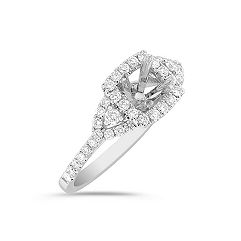 Halo and Side Accented Diamond Engagement Ring