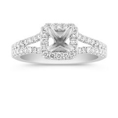 Halo Diamond Split Shank Engagement Ring