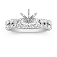 Dainty Round Diamond Wedding Set