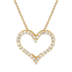 Round Diamond Heart Pendant (18 in.)