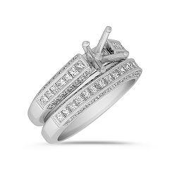 Princess Cut and Round Diamond Wedding Set