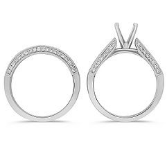 Princess Cut and Round Diamond Wedding Set