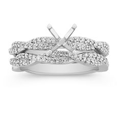 Infinity Diamond Wedding Set with Pave Setting