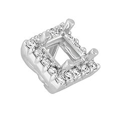 Diamond Halo Head  to Hold .50 ct. Princess Cut Stone