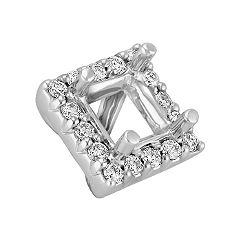Diamond Halo Head to Hold .75 ct. Princess Cut Stone