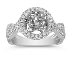 Round Halo and Infinity Set Diamond Engagement Ring