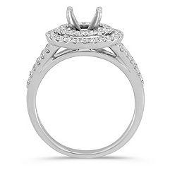 Double Round Halo Diamond Engagement Ring