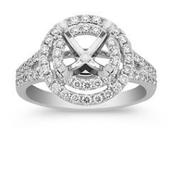 Double Round Halo Diamond Engagement Rind