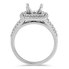 Double Halo and Split Shank Diamond Engagement Ring with Pavé Setting