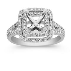 Double Halo and Split Shank Diamond Engagement Ring with Pave Setting