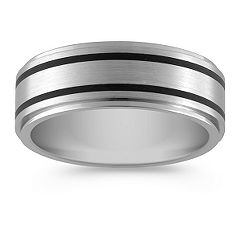 Titanium Ring with Engraved Black Lines (8mm)
