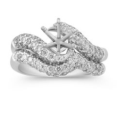 Warp Round Diamond Wedding Set