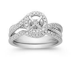 Halo Pave Set Diamond Split Shank Wedding Set